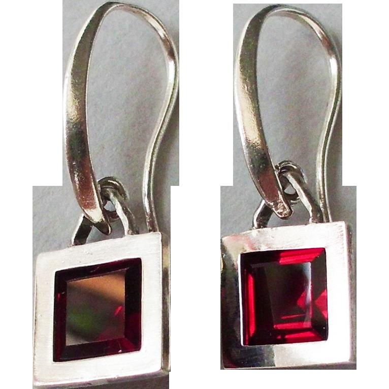Red garnet in sterling silver frame earrings contemporary jewelry