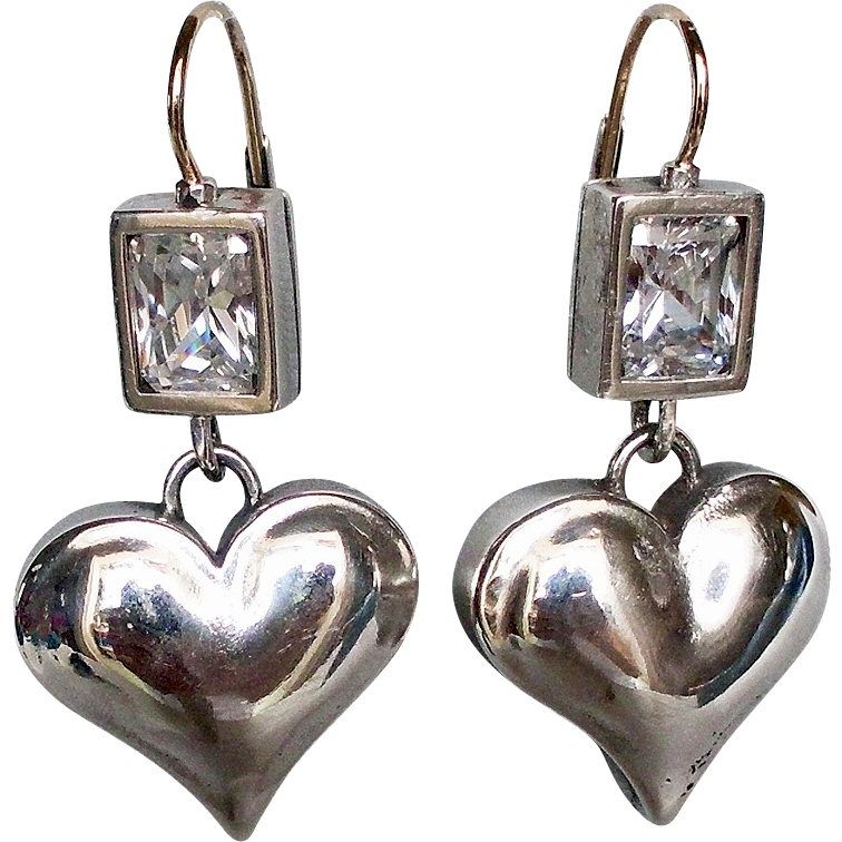 Clear zircon silver heart earrings custom jewelry design