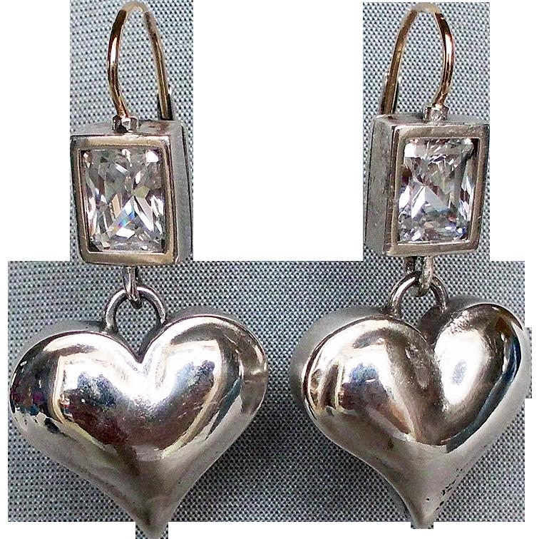 Clear zircon silver heart earrings custom jewelry design