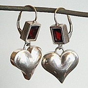 Sterling silver heart  garnet  earrings gold ear wire