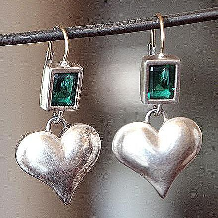 Designer earrings silver heart green zircon gold earwire.