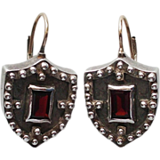 Shield silver earrings purple garnet stone gold clasp