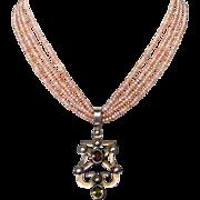 Heraldic harp silver pendant pink freshwater pearls necklace design