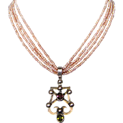 Heraldic harp silver pendant pink freshwater pearls necklace design