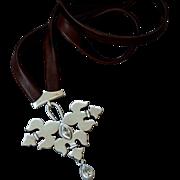 Fleur-de-lis silver pendant zircon marquise leather necklace bold jewelry