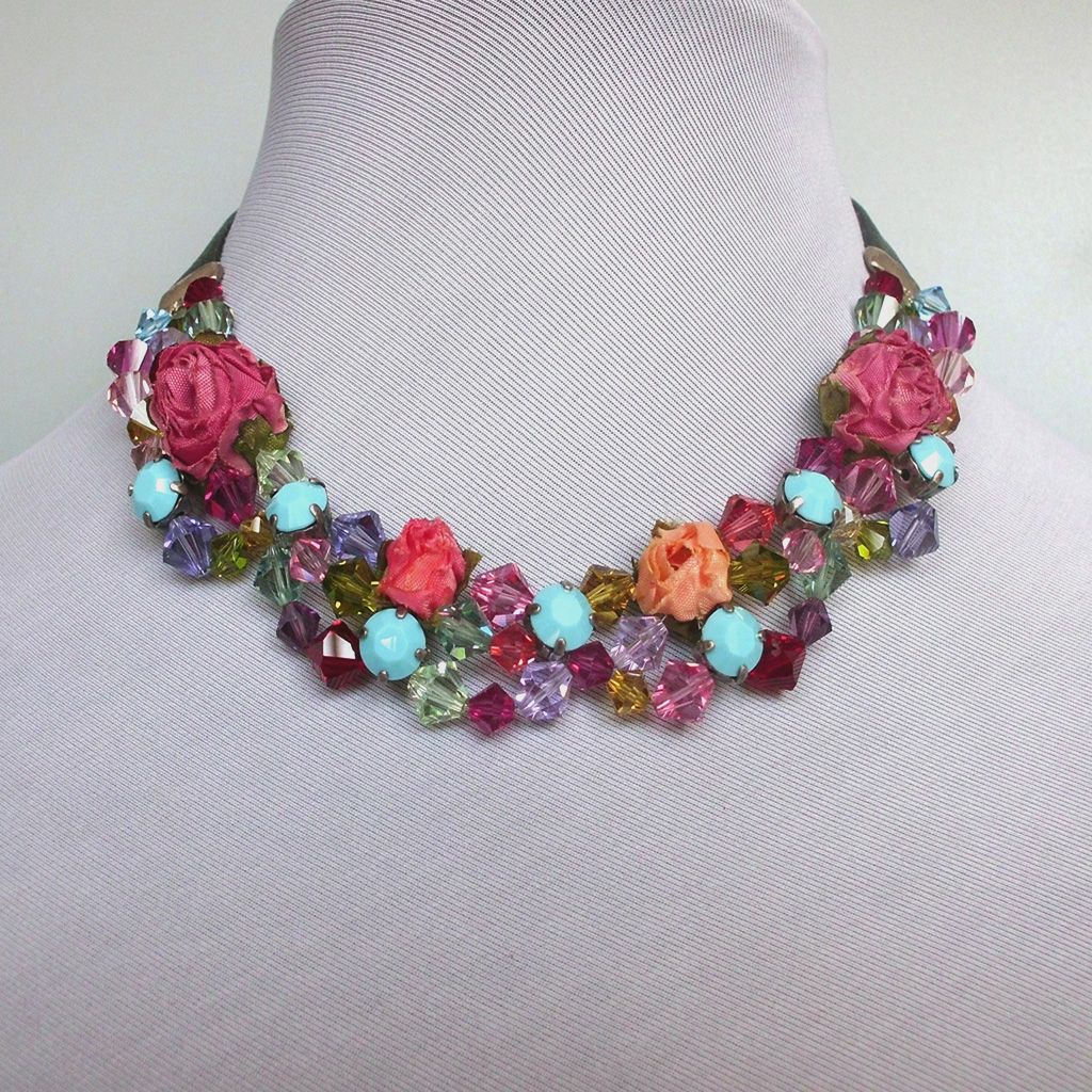 Fabric flowers and crystals leather choker, contemporary romantic Swarovski necklace design.