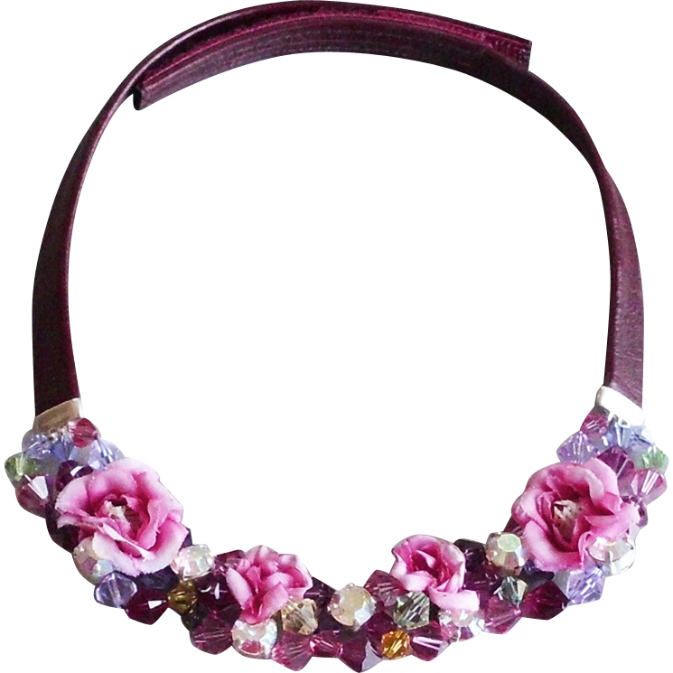 Colorful fabric roses Swarovski crystal bead necklace leather choker