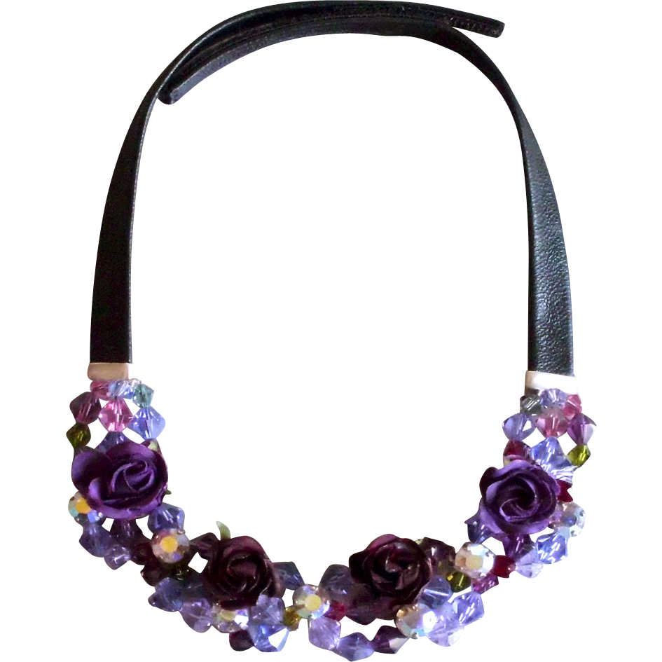 Violet purple fabric roses Swarovski crystal bead necklace leather choker
