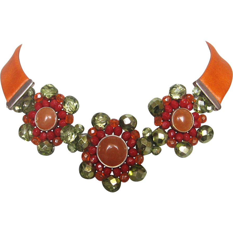 Orange leather choker silver cornelian crystal flower pendants