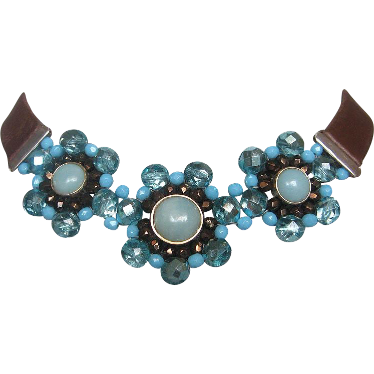 Brown leather choker aquamarine crystal flower upscale necklace