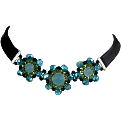 Black leather choker aquamarine crystal flower silver triple pendants