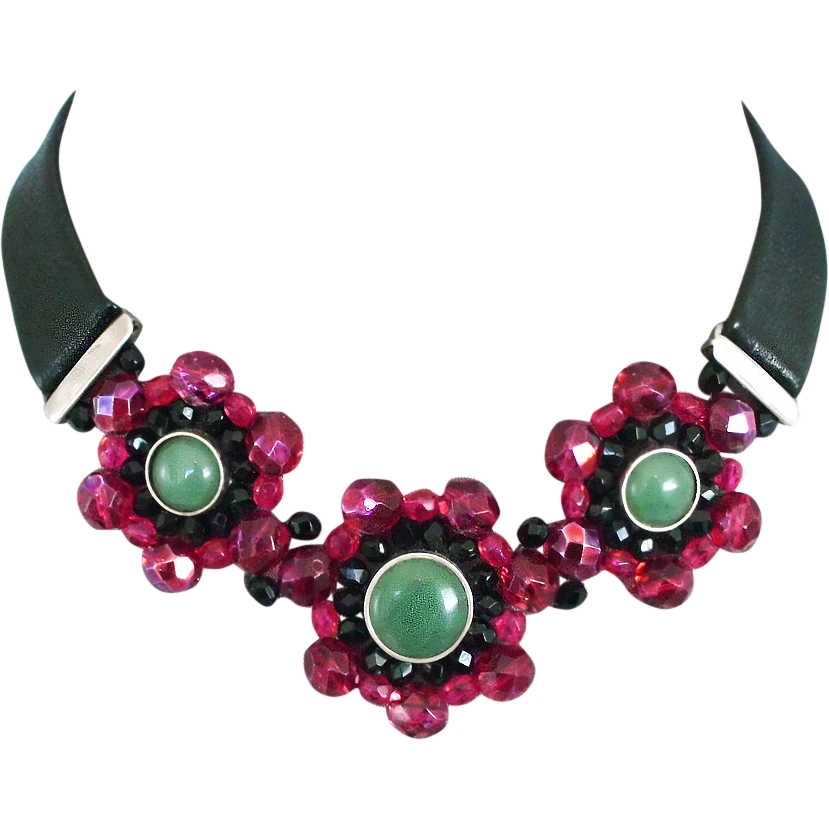 Red crystal flowers green aventurine black leather choker
