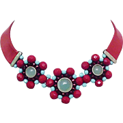 Red leather choker silver crystal pendants flowers necklace