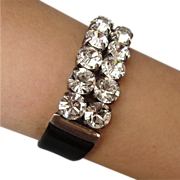 Swarovski crystal rhinestones on black leather cuff bracelet design