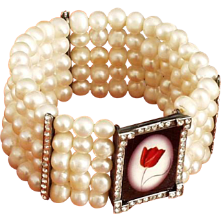 Red tulip cameo silver pendant Swarovski crystals freshwater pearl bracelet upscale