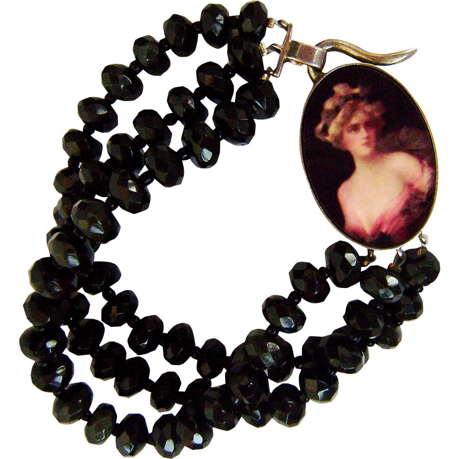 Black obsidian beads bracelet sterling silver pendant glory woman cameo