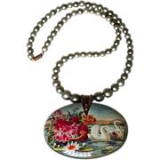 Tin box swan and cherries pendant faux pearls necklace design