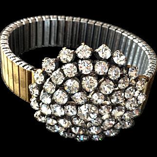 Rocking snowflake  crystal rhinestones brooch on expanding watchband bracelet