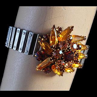 Crystal vintage brooch expanding watchband designer bracelet, romantic contemporary jewelry