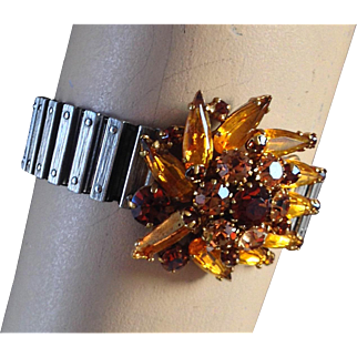 Crystal  brooch expanding watchband  bracelet, romantic contemporary jewelry