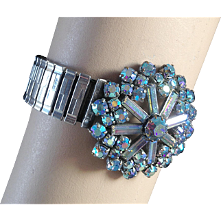AB blue crystal snowflake vintage brooch expanding watch band designer bracelet