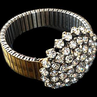 Rocking snowflake  crystal rhinestones brooch on an expanding watchband bracelet designer fashion jewelry