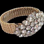 Rocking marquise  crystal rhinestones brooch on expanding watchband bracelet designer fashion jewelry