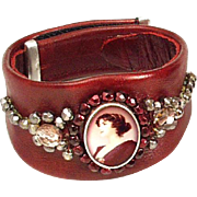 Couture leather bracelet sterling silver woman cameo Czech crystals