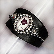 Bold couture leather bracelet romantic tulip sterling silver cameo Czech crystal beads
