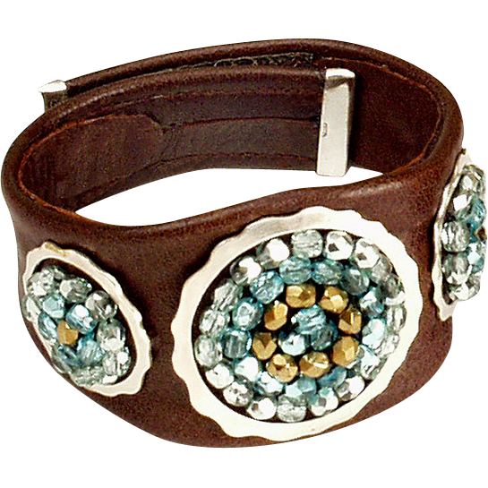 Brown leather bracelet silver rings cyan crystal beads bold upscale jewelry