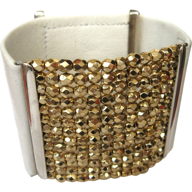 Couture leather cuff bracelet golden Czech fire polished beads elegant bold jewelry design