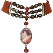 Romantic woman portrait cameo silver pendant crystals cornelian beads on couture leather choker.