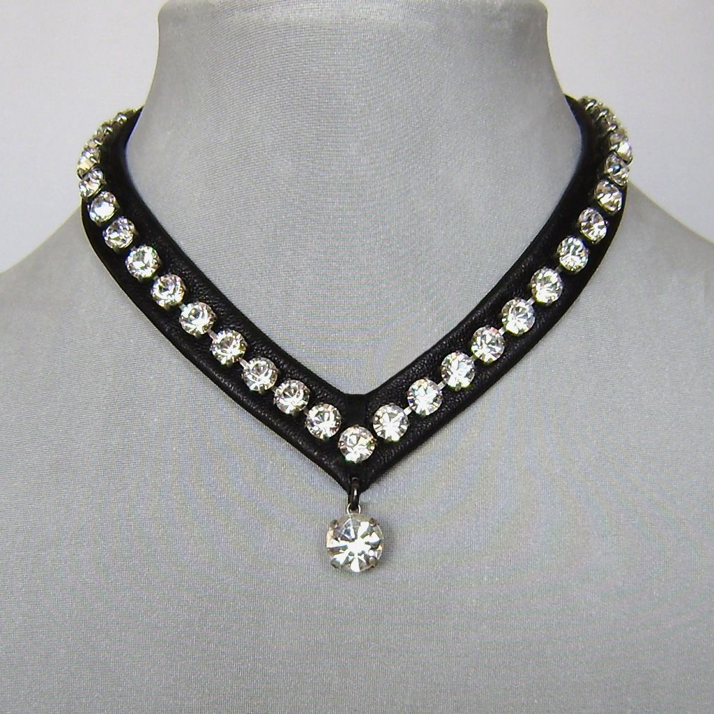 Swarovski Rhinestones Leather Choker Bold Leather And