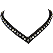 Harley Davidson inspired black leather choker Swarovski crystal rhinestones handmade jewelry