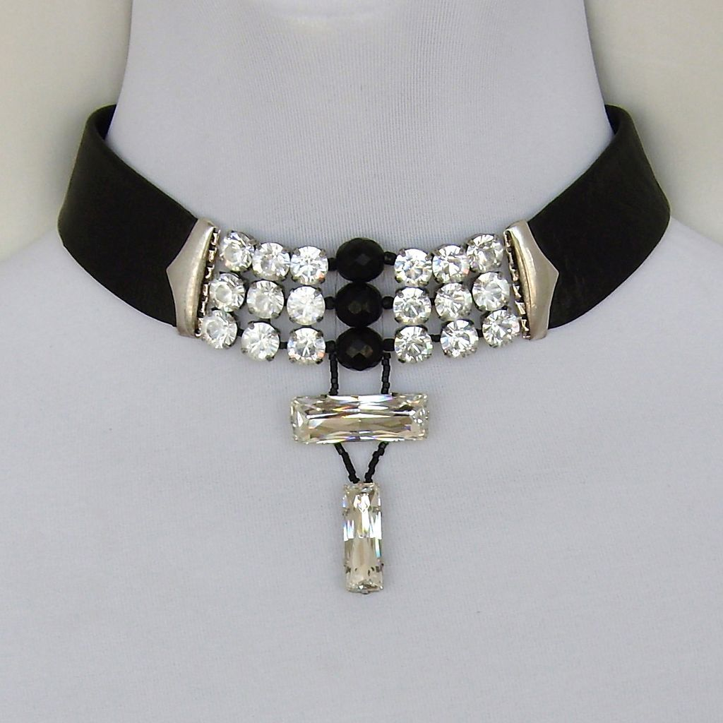 Black leather choker Swarovski rhinestones crystal beads silver clasp necklace design.