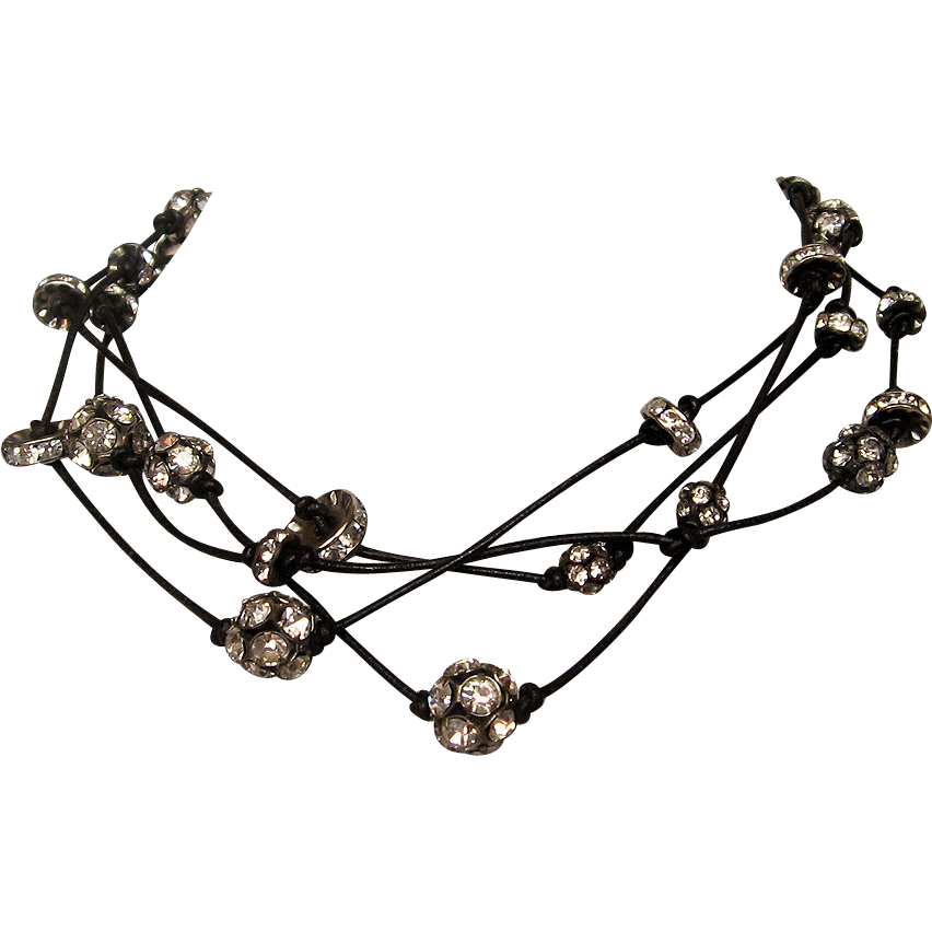 Swarovski crystal rhinestones on black leather strings necklace