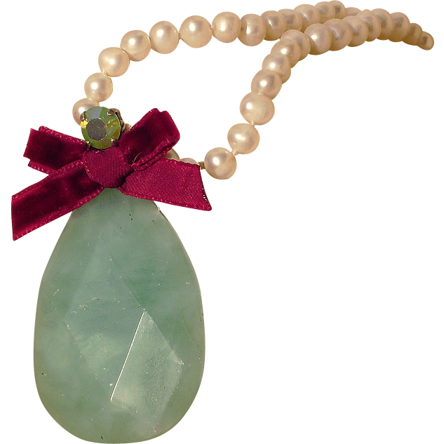 Green icy calcite stone Swarovski crystal pearl necklace upscale fashion jewelry design