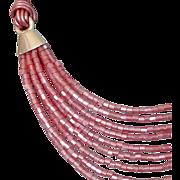 Pink Miyuki glass beads leather choker sterling silver accents Egypt jewelry design