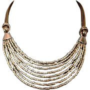 Silver tone glass beads leather necklace ancient Egypt jewelry design