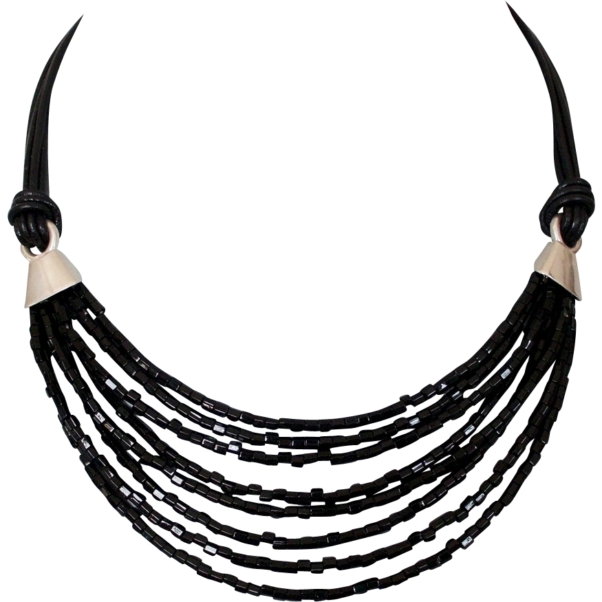 Black Miyuki glass beads leather necklace ancient Egypt jewelry design