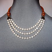 Three strand pearls leather necklace silver clasp couture jewelry