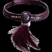 Designer feather leather necklace labradorite silver crystals pendant