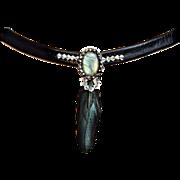 Couture jewelry leather choker Swarovski labradorite silver pendant