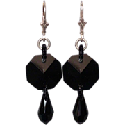 Black crystal Swarovski drop earrings silver ear wire.