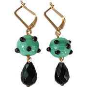 Green black lampwork bead Swarovski drop earrings