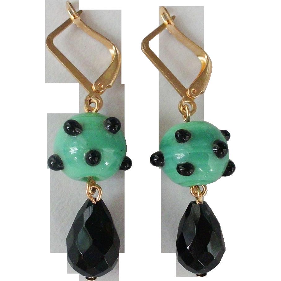 Green black lampwork bead Swarovski drop earrings