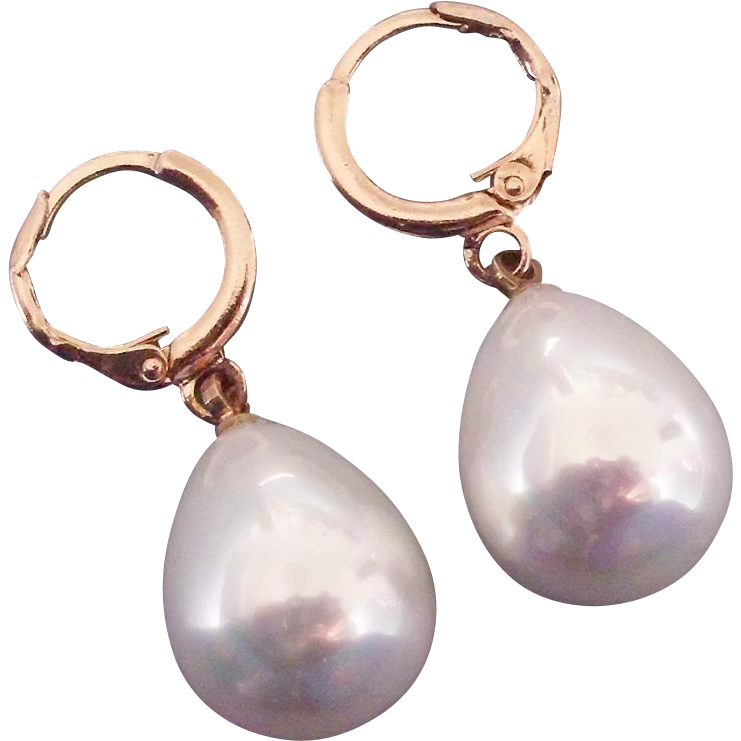Glass pearl drop earrings 24K gold plated ear wire