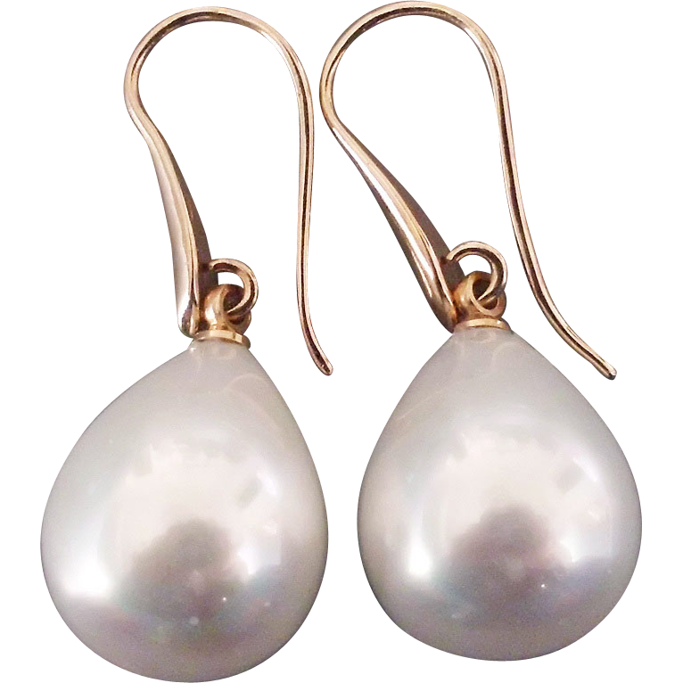 White glass pearl drop earrings 24K gold plated ear wire.