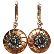 Gold plated button disc earrings with gray crystals