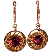 Gold plated button earrings red Swarovski crystal